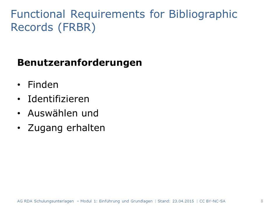 Benutzeranforderungen AG RDA Schulungsunterlagen – Modul 1: Einführung und Grundlagen | Stand: 23.04.2015 | CC BY-NC-SA 8 Functional Requirements for Bibliographic Records (FRBR) Finden Identifizieren Auswählen und Zugang erhalten
