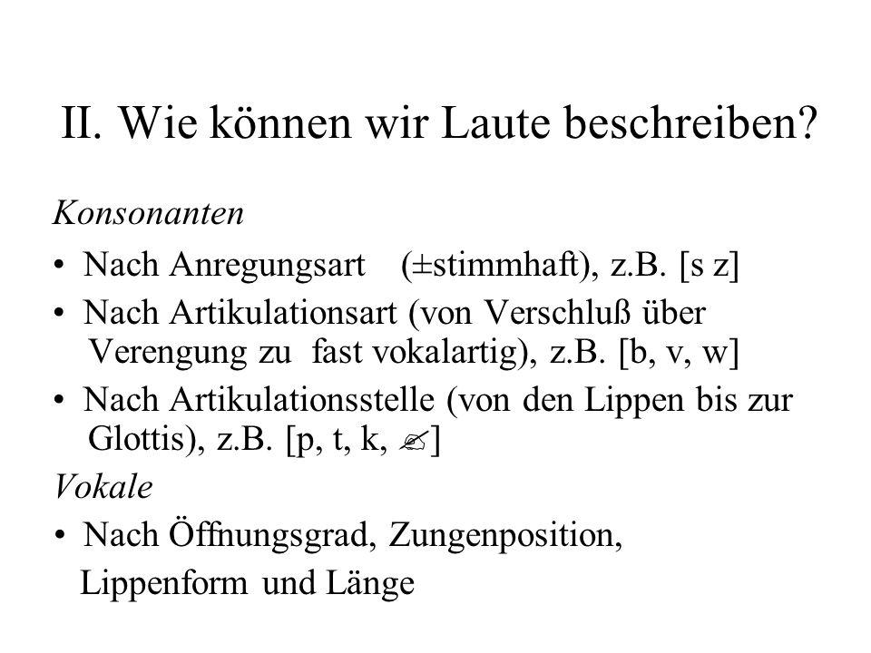 II.Wie können wir Laute beschreiben. Konsonanten Nach Anregungsart(±stimmhaft), z.B.