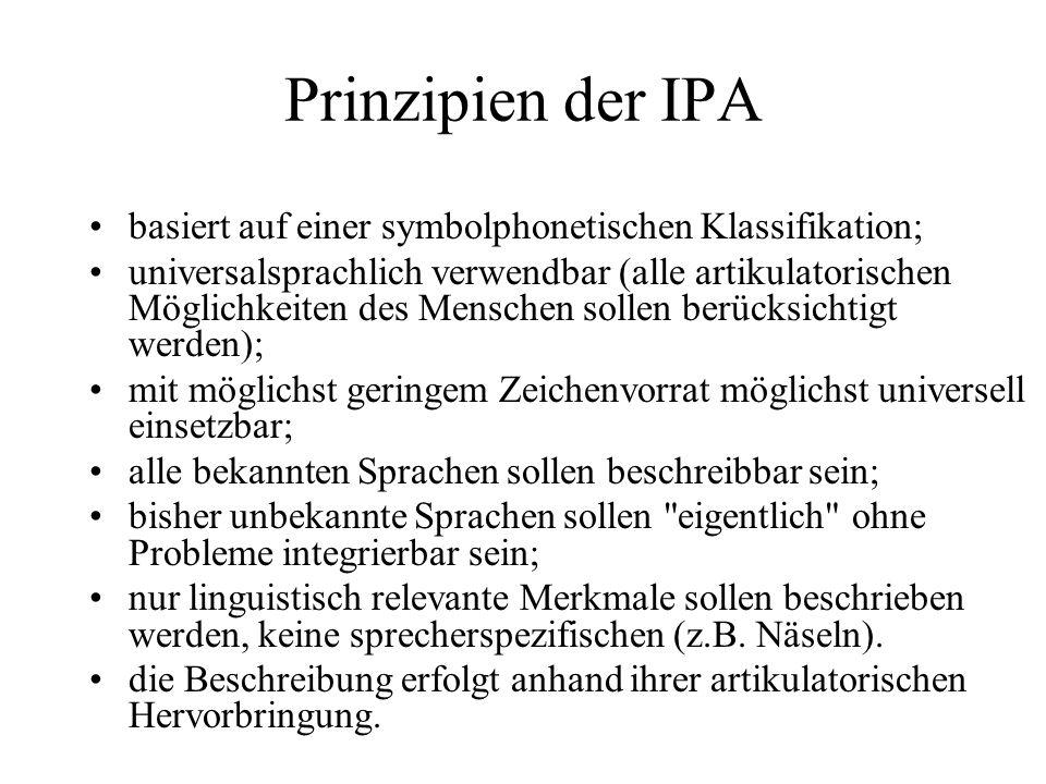 Prinzipien der IPA basiert auf einer symbolphonetischen Klassifikation; universalsprachlich verwendbar (alle artikulatorischen Möglichkeiten des Mensc