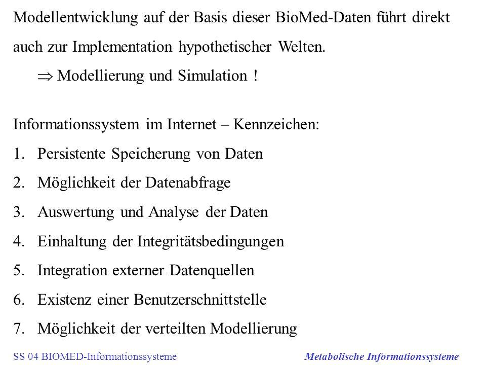 SS 04 BIOMED-InformationssystemeMetabolische Informationssysteme Modellentwicklung auf der Basis dieser BioMed-Daten führt direkt auch zur Implementat