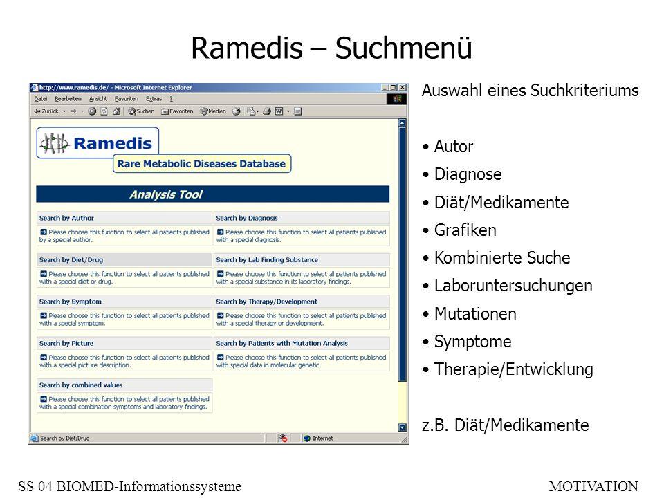 Ramedis – Suchmenü Auswahl eines Suchkriteriums Autor Diagnose Diät/Medikamente Grafiken Kombinierte Suche Laboruntersuchungen Mutationen Symptome The