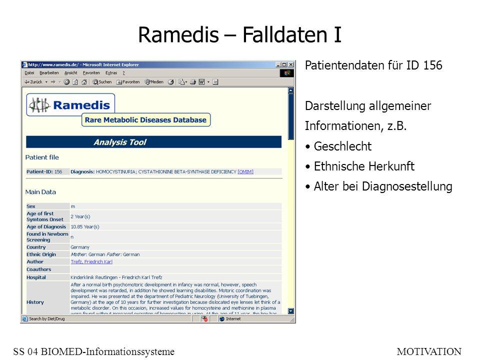 Ramedis – Falldaten I Patientendaten für ID 156 Darstellung allgemeiner Informationen, z.B. Geschlecht Ethnische Herkunft Alter bei Diagnosestellung S