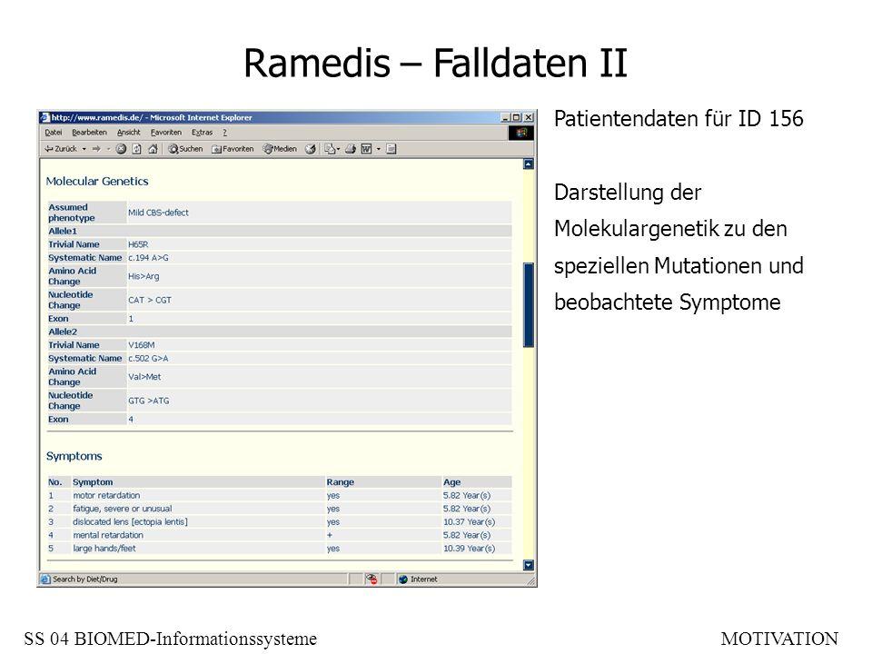Ramedis – Falldaten II Patientendaten für ID 156 Darstellung der Molekulargenetik zu den speziellen Mutationen und beobachtete Symptome SS 04 BIOMED-I