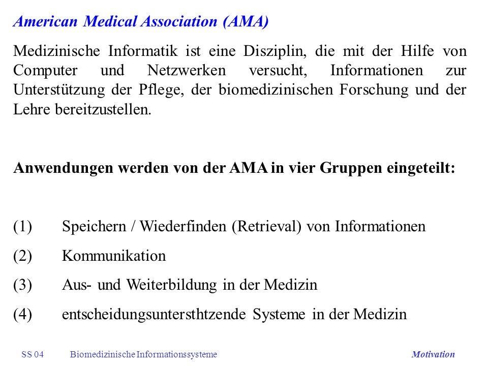 SS 04Biomedizinische InformationssystemeMotivation American Medical Association (AMA) Medizinische Informatik ist eine Disziplin, die mit der Hilfe vo