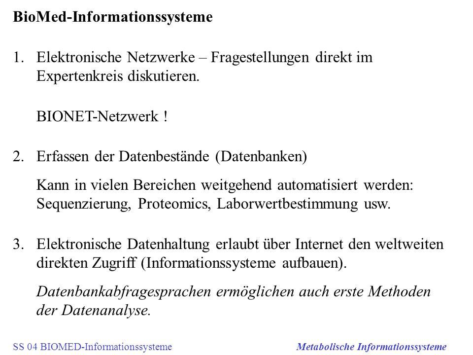 SS 04 BIOMED-InformationssystemeMetabolische Informationssysteme BioMed-Informationssysteme 1.Elektronische Netzwerke – Fragestellungen direkt im Expe