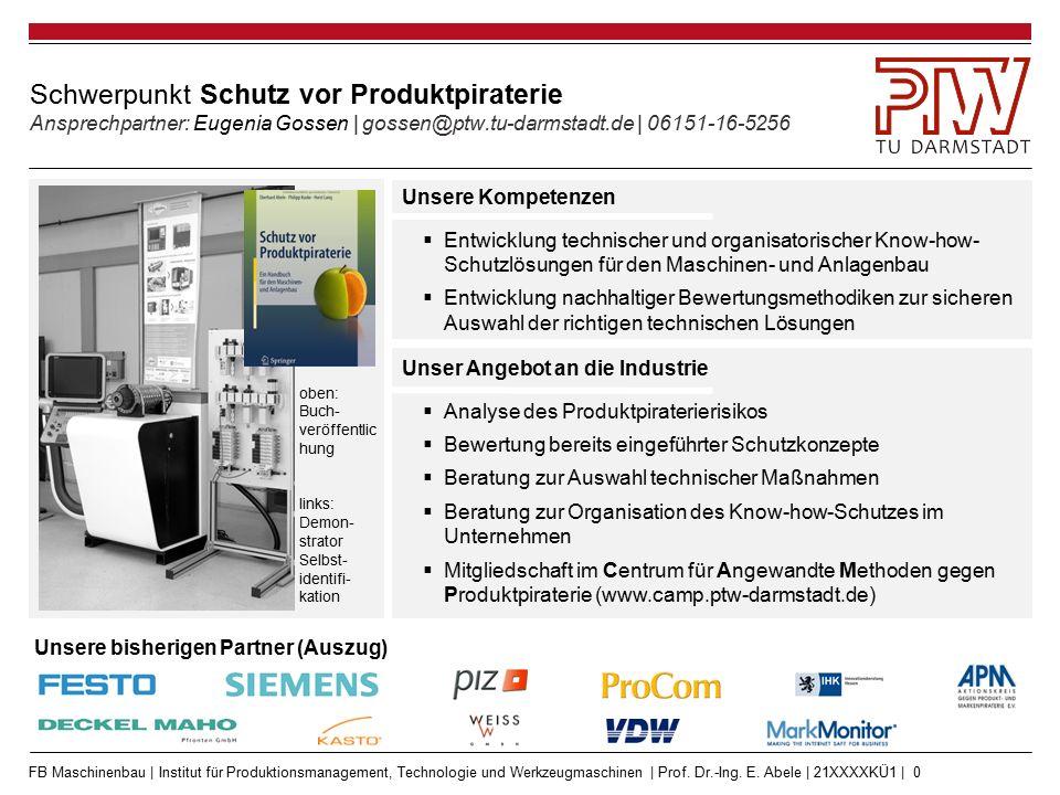 FB Maschinenbau | Institut für Produktionsmanagement, Technologie und Werkzeugmaschinen | Prof. Dr.-Ing. E. Abele | 21XXXXKÜ1 | 0 Schwerpunkt Schutz v