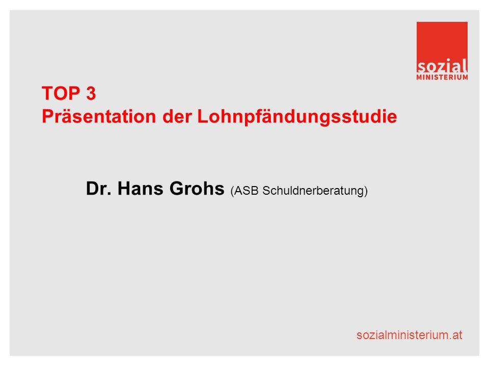 sozialministerium.at TOP 3 Präsentation der Lohnpfändungsstudie Dr.
