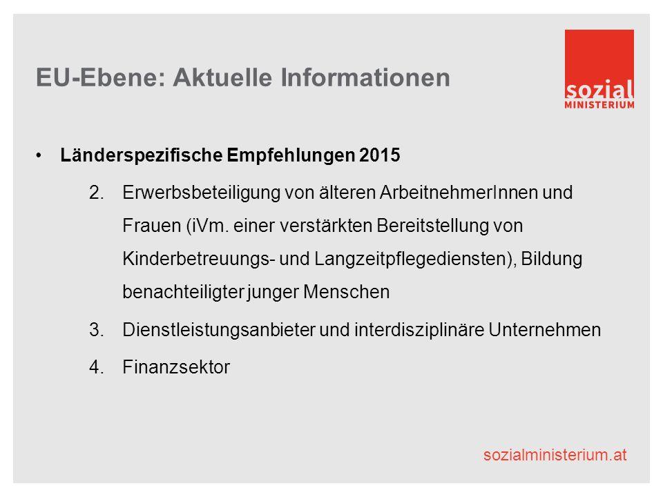 sozialministerium.at EU-Ebene: Aktuelle Informationen Länderspezifische Empfehlungen 2015 2.Erwerbsbeteiligung von älteren ArbeitnehmerInnen und Frauen (iVm.