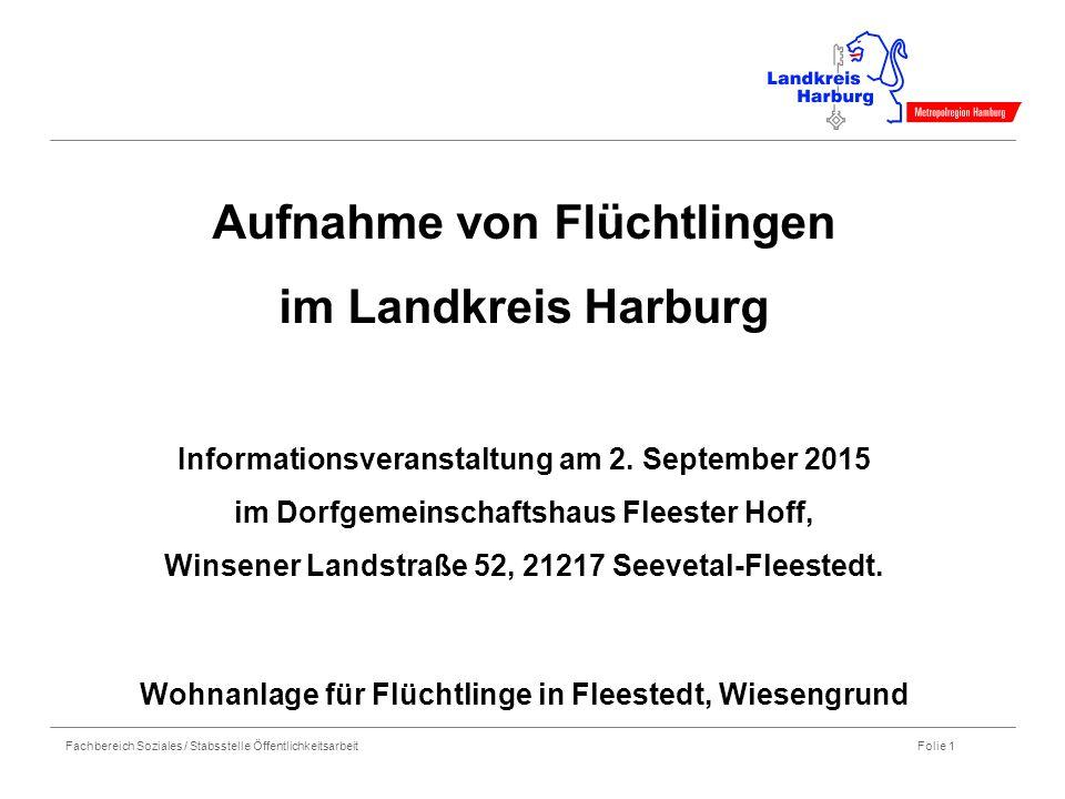 Fachbereich Soziales / Stabsstelle Öffentlichkeitsarbeit Folie 1 Aufnahme von Flüchtlingen im Landkreis Harburg Informationsveranstaltung am 2. Septem
