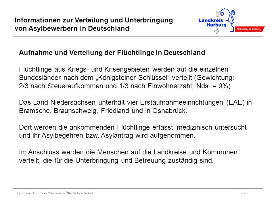Fachbereich Soziales / Stabsstelle Öffentlichkeitsarbeit Folie 8 Informationen zur Verteilung und Unterbringung von Asylbewerbern in Deutschland Aufna