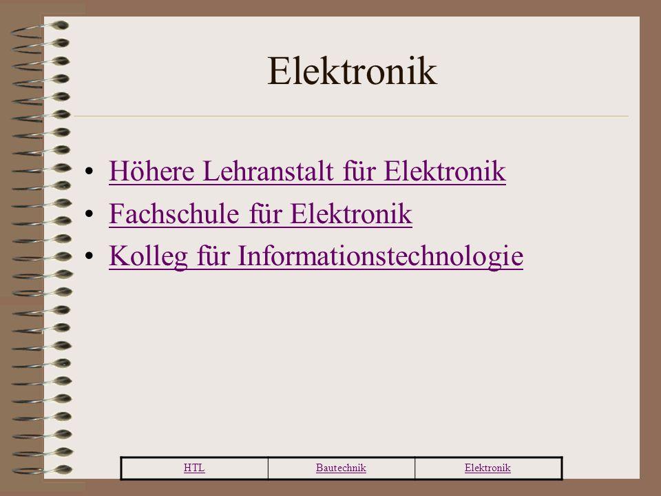 HTLBautechnikElektronik Höhere Lehranstalt für Elektronik Fachschule für Elektronik Kolleg für Informationstechnologie