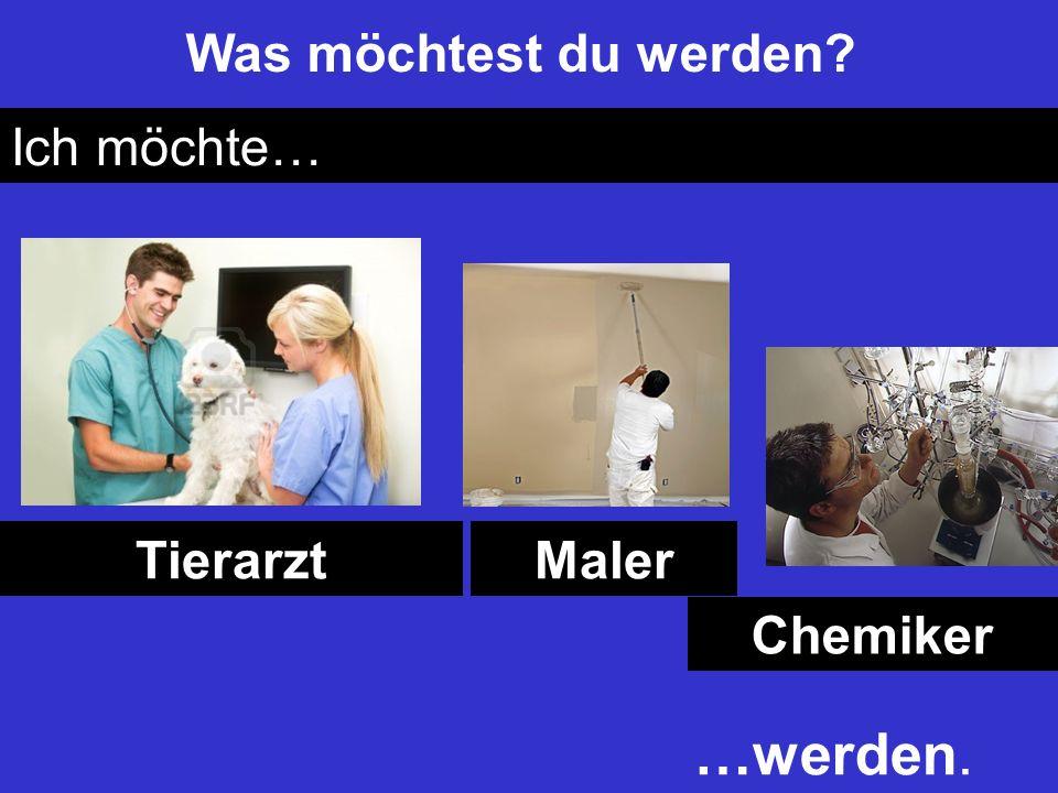 Was möchtest du werden? Ich möchte… TierarztMaler Chemiker …werden.