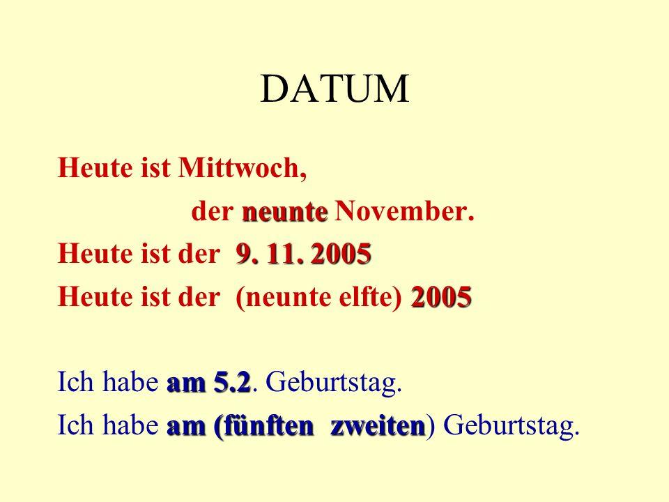 DATUM Heute ist Mittwoch, neunte der neunte November.