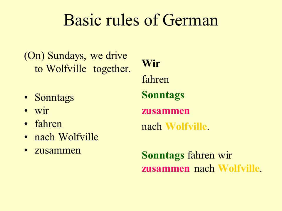 Basic rules of German (On) Sundays, we drive to Wolfville together.