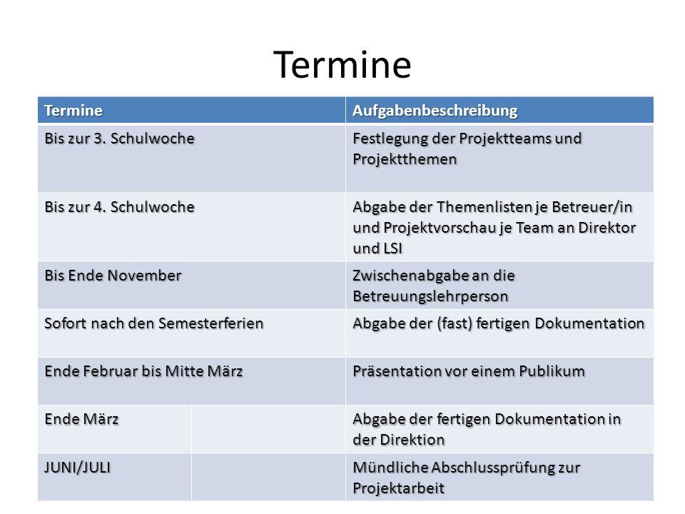 Termine TermineAufgabenbeschreibung Bis zur 3. Schulwoche Festlegung der Projektteams und Projektthemen Bis zur 4. Schulwoche Abgabe der Themenlisten