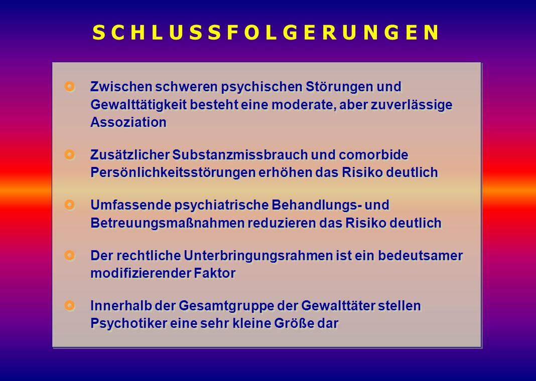 S C H L U S S F O L G E R U N G E N  Zwischen schweren psychischen Störungen und Gewalttätigkeit besteht eine moderate, aber zuverlässige Assoziation