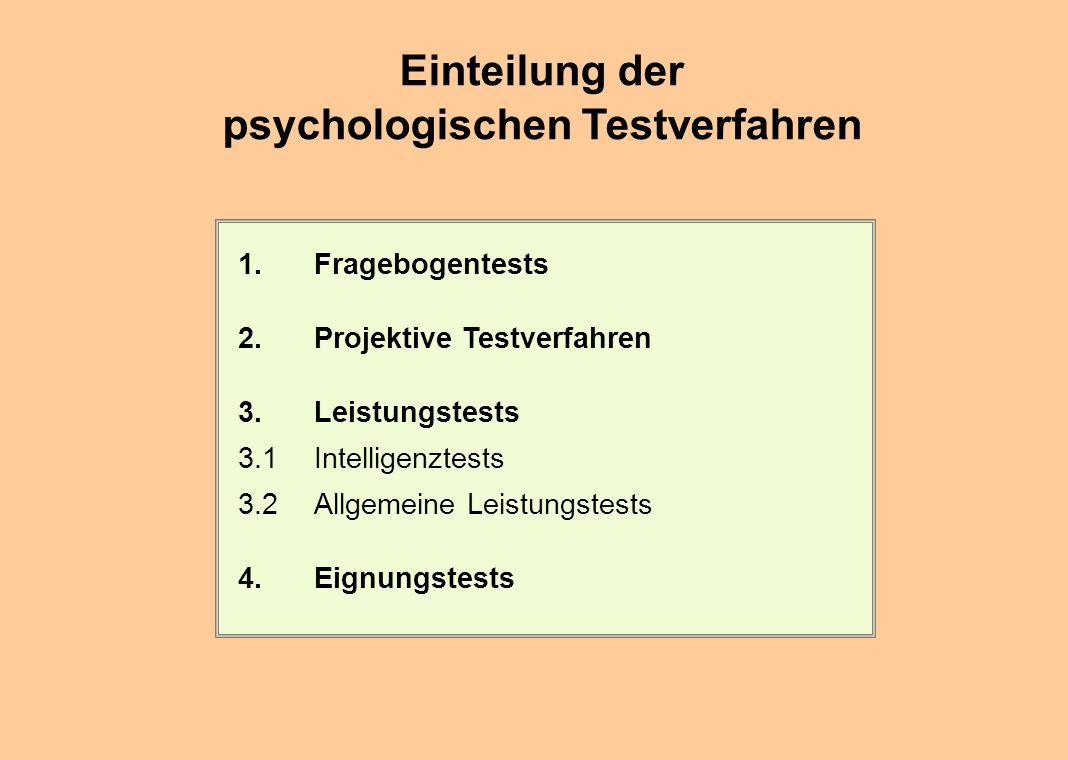 Einteilung der psychologischen Testverfahren 1.Fragebogentests 2.Projektive Testverfahren 3.Leistungstests 3.1Intelligenztests 3.2Allgemeine Leistungs