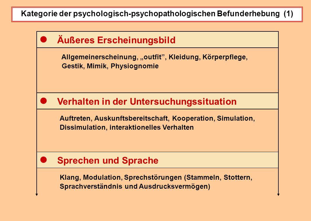 """Kategorie der psychologisch-psychopathologischen Befunderhebung (1) Allgemeinerscheinung, """"outfit"""", Kleidung, Körperpflege, Gestik, Mimik, Physiognomi"""