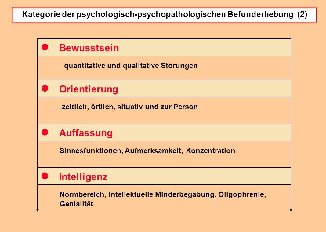 Kategorie der psychologisch-psychopathologischen Befunderhebung (2) quantitative und qualitative Störungen Bewusstsein Orientierung Auffassung zeitlic