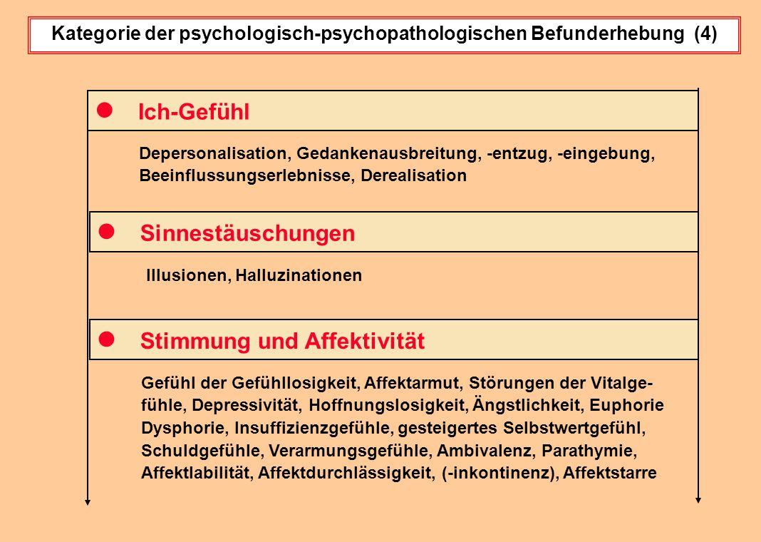 Kategorie der psychologisch-psychopathologischen Befunderhebung (4) Depersonalisation, Gedankenausbreitung, -entzug, -eingebung, Beeinflussungserlebni