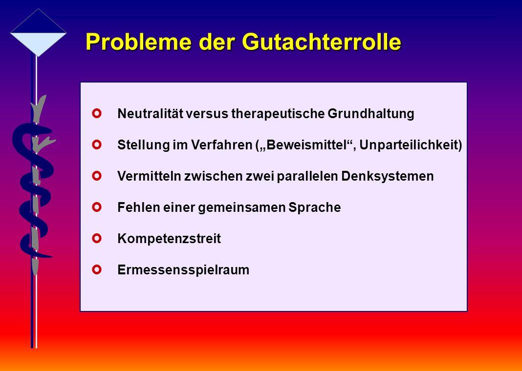 """Probleme der Gutachterrolle  Neutralität versus therapeutische Grundhaltung  Stellung im Verfahren (""""Beweismittel"""", Unparteilichkeit)  Vermitteln z"""