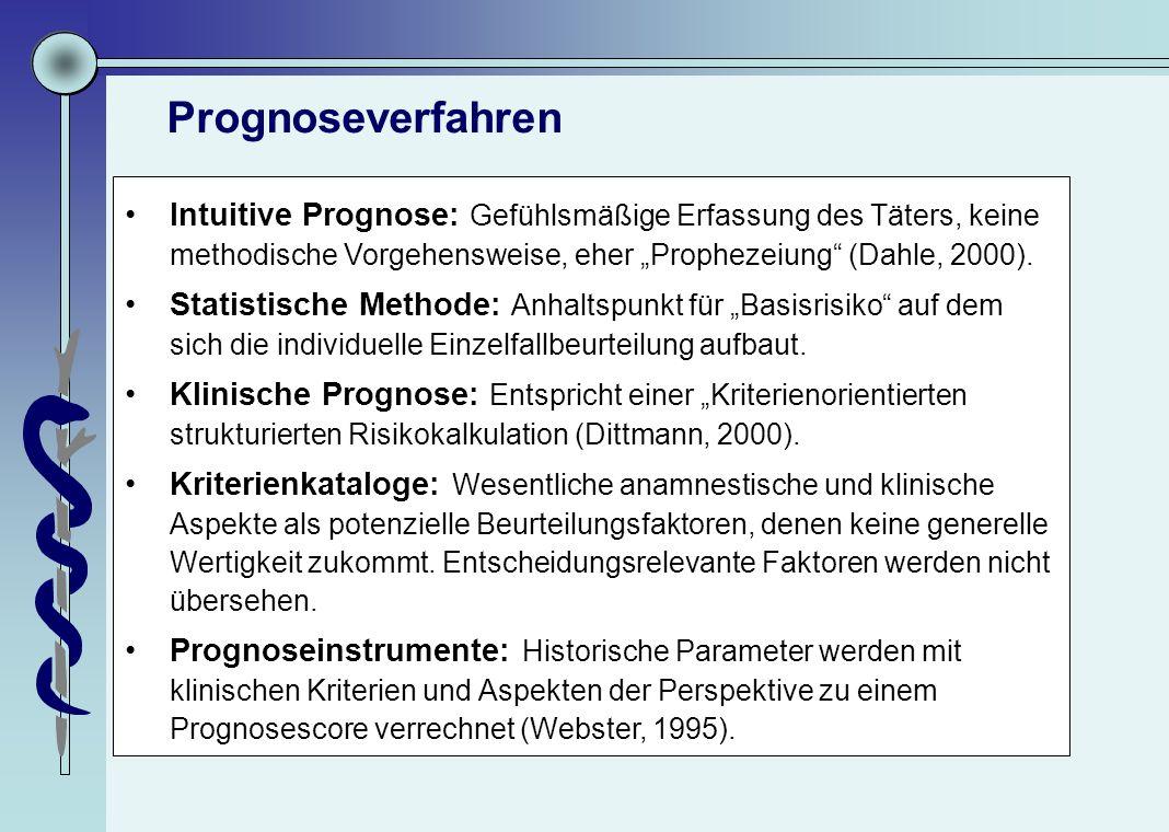 """Prognoseverfahren Intuitive Prognose: Gefühlsmäßige Erfassung des Täters, keine methodische Vorgehensweise, eher """"Prophezeiung"""" (Dahle, 2000). Statist"""