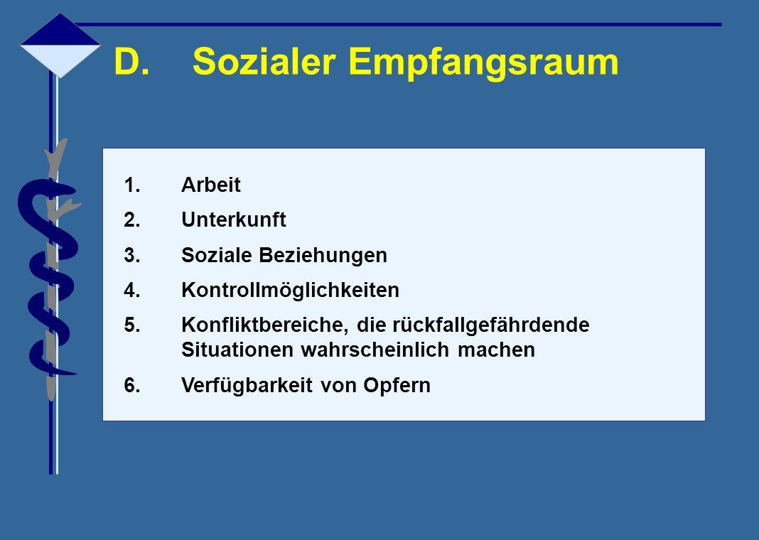 D.Sozialer Empfangsraum 1.Arbeit 2.Unterkunft 3.Soziale Beziehungen 4.Kontrollmöglichkeiten 5.Konfliktbereiche, die rückfallgefährdende Situationen wa