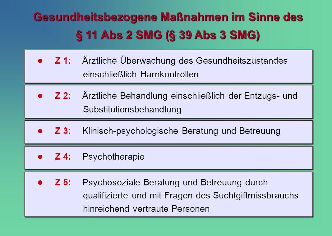 Z 1:Ärztliche Überwachung des Gesundheitszustandes einschließlich Harnkontrollen Gesundheitsbezogene Maßnahmen im Sinne des § 11 Abs 2 SMG (§ 39 Abs 3
