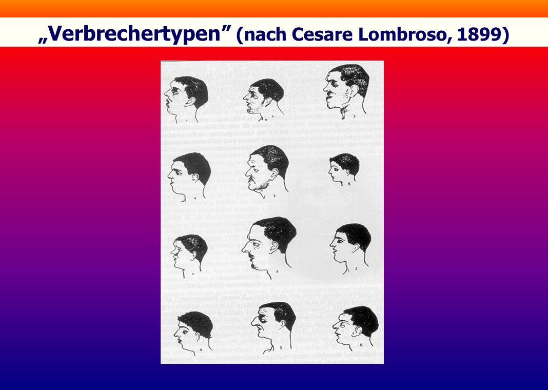 """Verbrechertypen"" (nach Cesare Lombroso, 1899)"