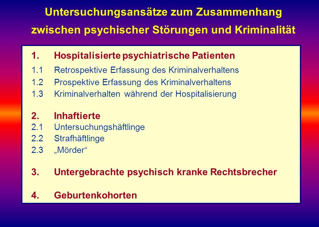 Untersuchungsansätze zum Zusammenhang zwischen psychischer Störungen und Kriminalität 1.Hospitalisierte psychiatrische Patienten 1.1Retrospektive Erfa