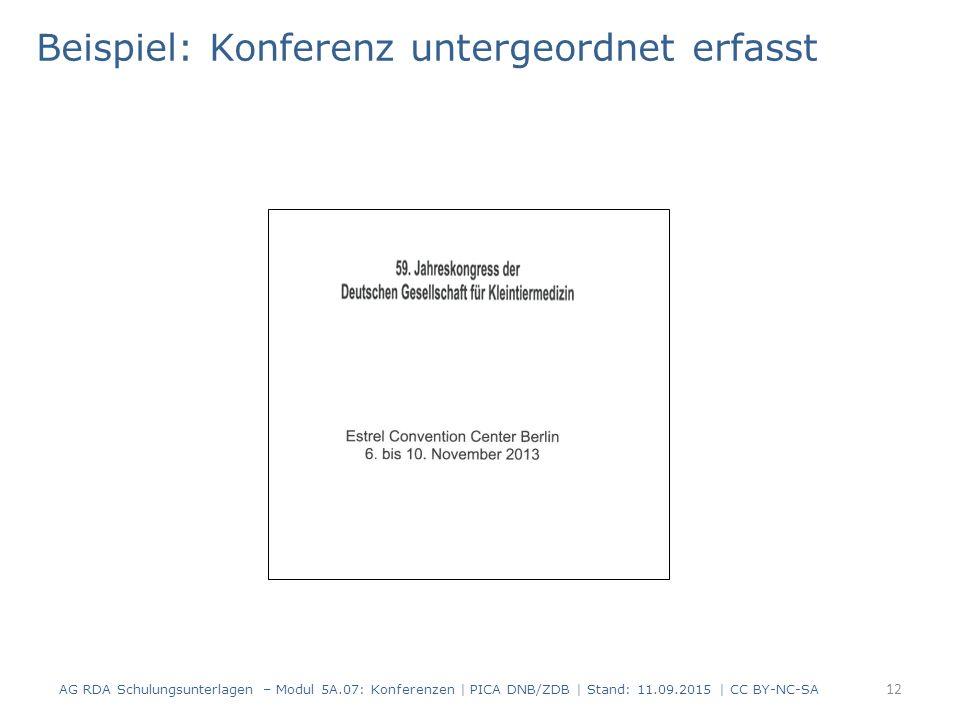 12 Beispiel: Konferenz untergeordnet erfasst AG RDA Schulungsunterlagen – Modul 5A.07: Konferenzen | PICA DNB/ZDB | Stand: 11.09.2015 | CC BY-NC-SA