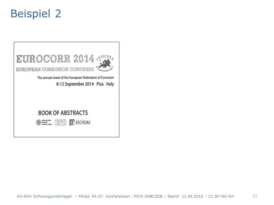 27 Beispiel 2 AG RDA Schulungsunterlagen – Modul 5A.07: Konferenzen | PICA DNB/ZDB | Stand: 11.09.2015 | CC BY-NC-SA