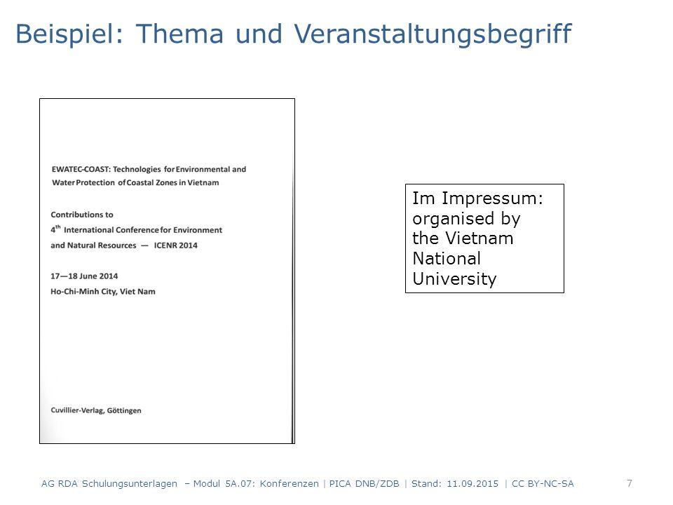 7 Im Impressum: organised by the Vietnam National University Beispiel: Thema und Veranstaltungsbegriff AG RDA Schulungsunterlagen – Modul 5A.07: Konferenzen | PICA DNB/ZDB | Stand: 11.09.2015 | CC BY-NC-SA