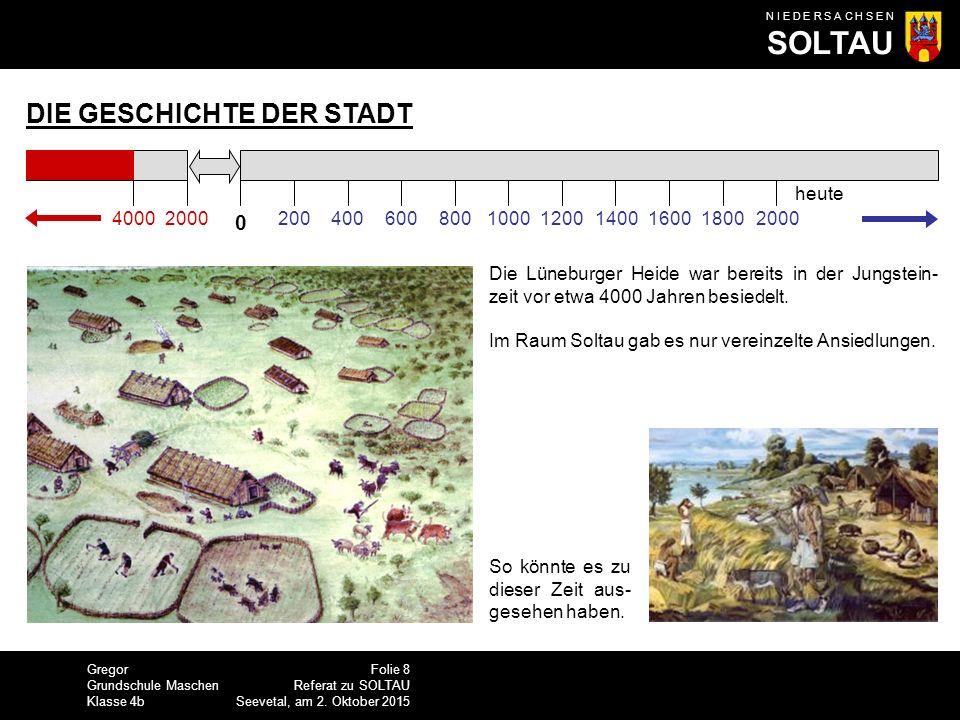 Gregor Grundschule Maschen Klasse 4b N I E D E R S A C H S E N SOLTAU Folie 9 Referat zu SOLTAU Seevetal, am 2.