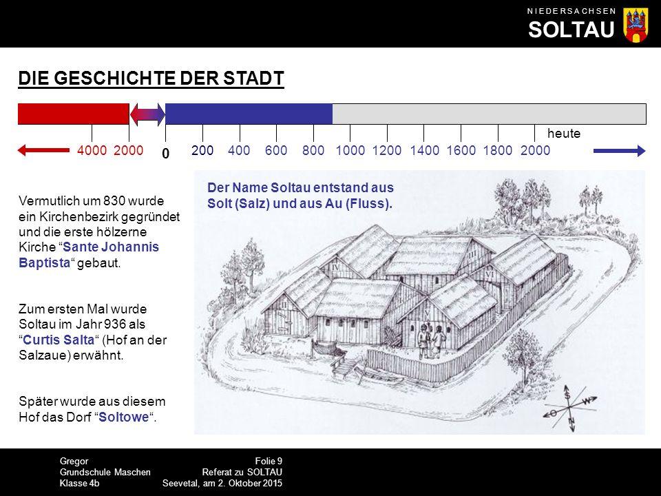 Gregor Grundschule Maschen Klasse 4b N I E D E R S A C H S E N SOLTAU Folie 10 Referat zu SOLTAU Seevetal, am 2.