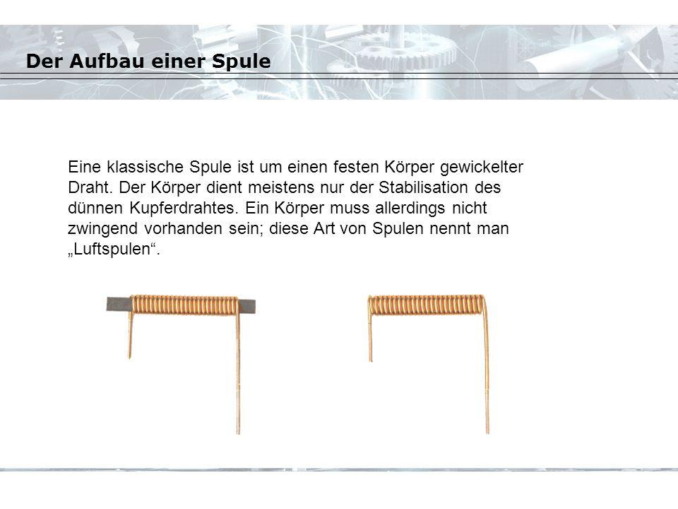 Der Aufbau einer Spule Eine klassische Spule ist um einen festen Körper gewickelter Draht.