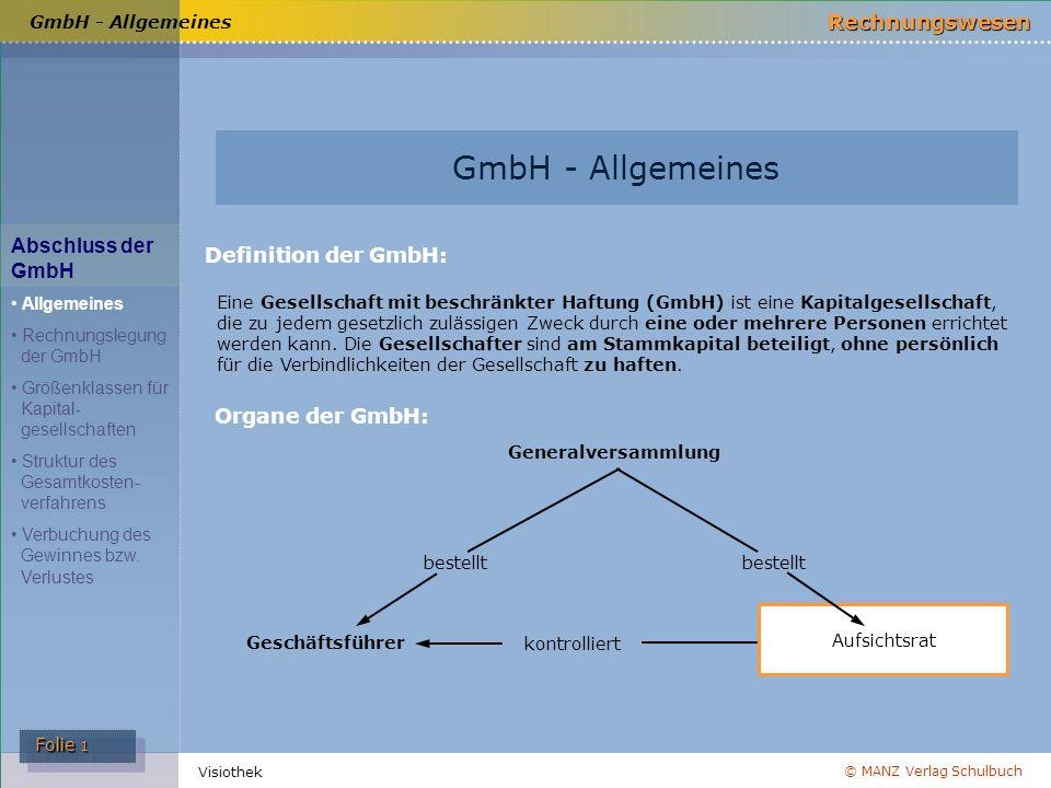 © MANZ Verlag Schulbuch Rechnungswesen Folie 1 Folie 1 Visiothek Definition der GmbH: Eine Gesellschaft mit beschränkter Haftung (GmbH) ist eine Kapit
