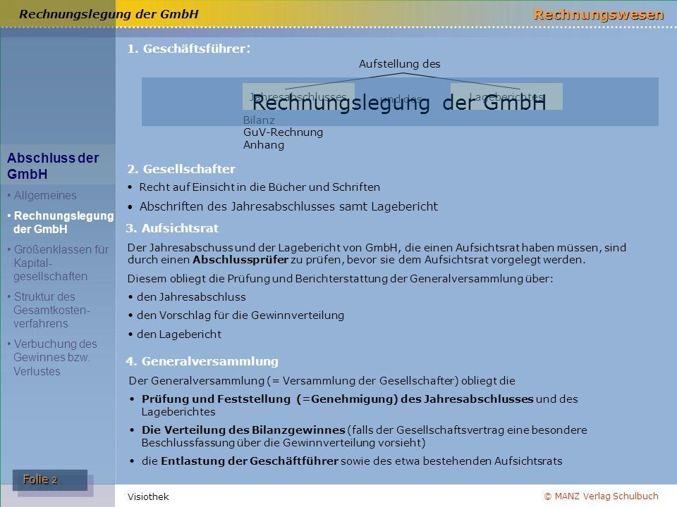 © MANZ Verlag Schulbuch Rechnungswesen Folie 2 Folie 2 Visiothek 1. Geschäftsführer : 4. Generalversammlung 2. Gesellschafter Recht auf Einsicht in di