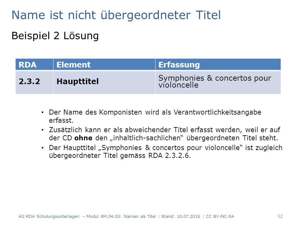 Name ist nicht übergeordneter Titel Beispiel 2 Lösung Der Name des Komponisten wird als Verantwortlichkeitsangabe erfasst.