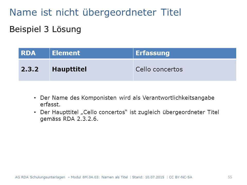 Name ist nicht übergeordneter Titel Beispiel 3 Lösung Der Name des Komponisten wird als Verantwortlichkeitsangabe erfasst.