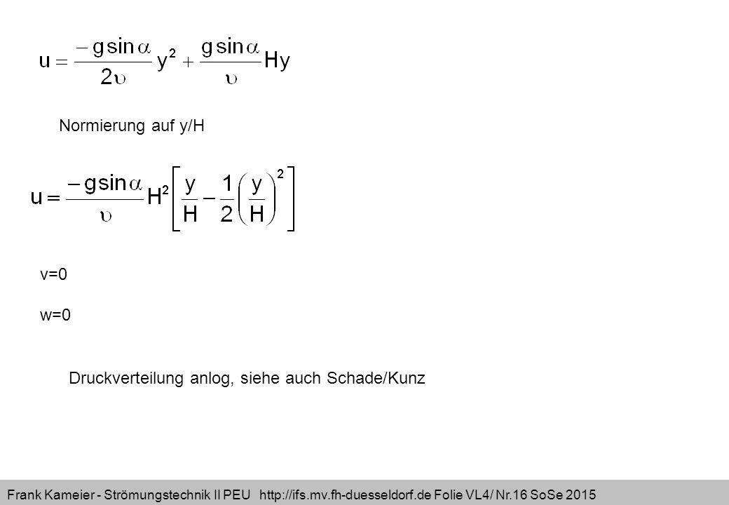 Frank Kameier - Strömungstechnik II PEU http://ifs.mv.fh-duesseldorf.de Folie VL4/ Nr.16 SoSe 2015 Normierung auf y/H v=0 w=0 Druckverteilung anlog, s