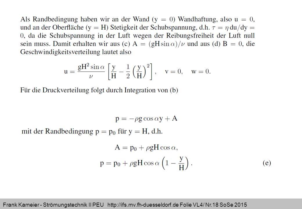 Frank Kameier - Strömungstechnik II PEU http://ifs.mv.fh-duesseldorf.de Folie VL4/ Nr.18 SoSe 2015