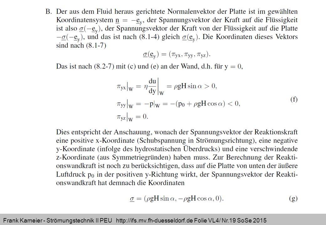 Frank Kameier - Strömungstechnik II PEU http://ifs.mv.fh-duesseldorf.de Folie VL4/ Nr.19 SoSe 2015