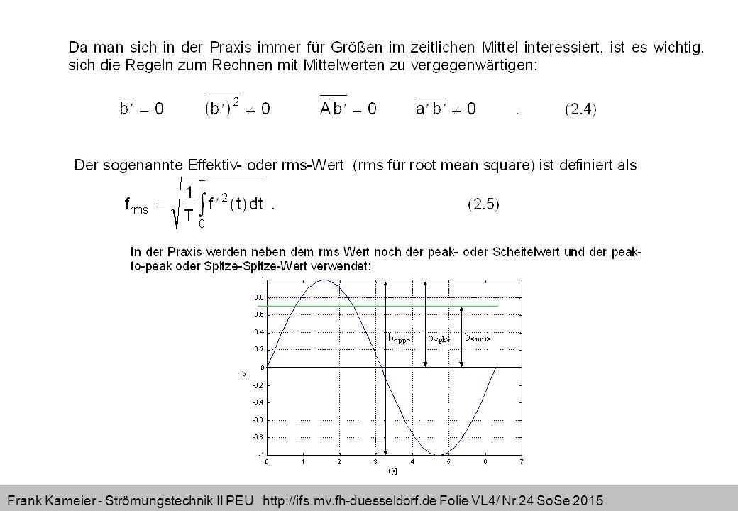 Frank Kameier - Strömungstechnik II PEU http://ifs.mv.fh-duesseldorf.de Folie VL4/ Nr.24 SoSe 2015