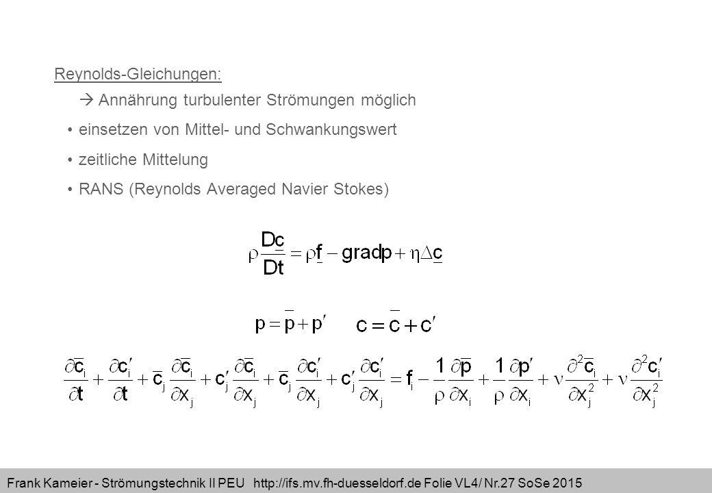 Frank Kameier - Strömungstechnik II PEU http://ifs.mv.fh-duesseldorf.de Folie VL4/ Nr.27 SoSe 2015 Reynolds-Gleichungen:  Annährung turbulenter Ström