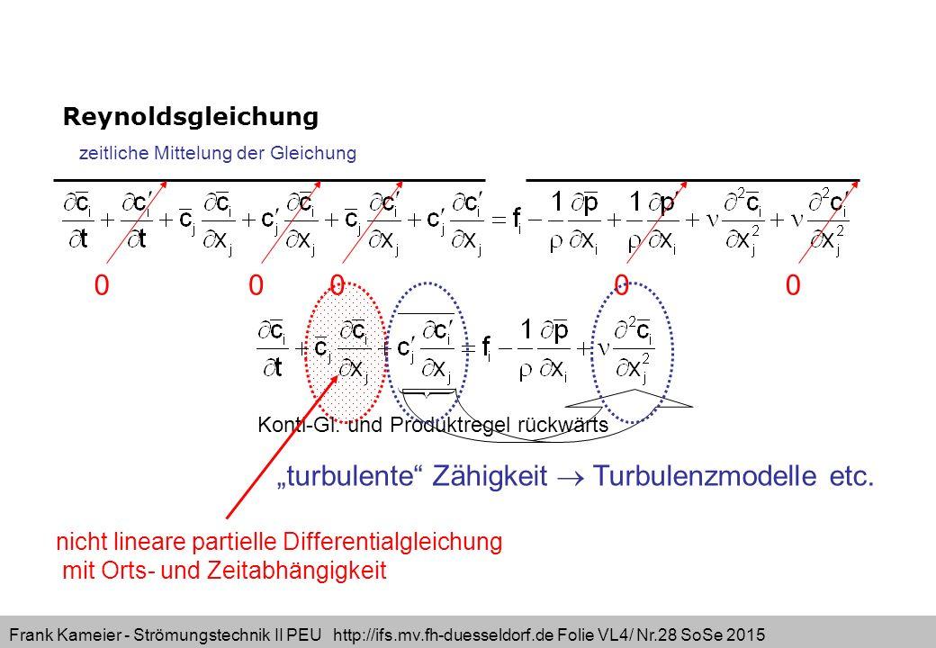 "Frank Kameier - Strömungstechnik II PEU http://ifs.mv.fh-duesseldorf.de Folie VL4/ Nr.28 SoSe 2015 Reynoldsgleichung ""turbulente"" Zähigkeit  Turbulen"