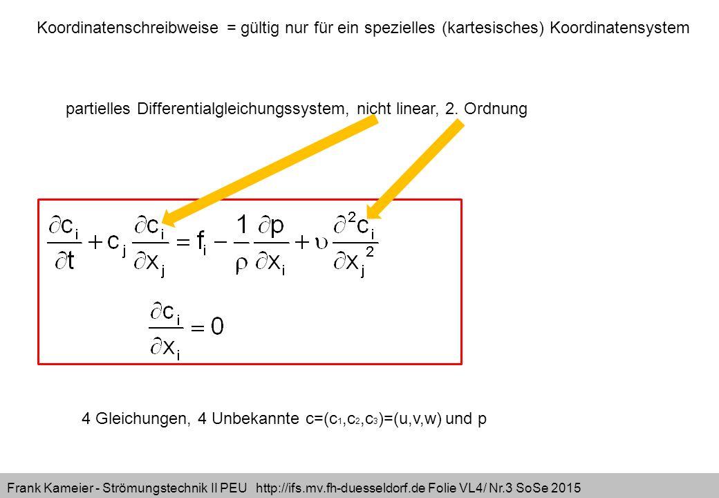 Frank Kameier - Strömungstechnik II PEU http://ifs.mv.fh-duesseldorf.de Folie VL4/ Nr.14 SoSe 2015 x-NVS: y-NVS: z-NVS: identisch erfüllt Achtung:  und d beachten!