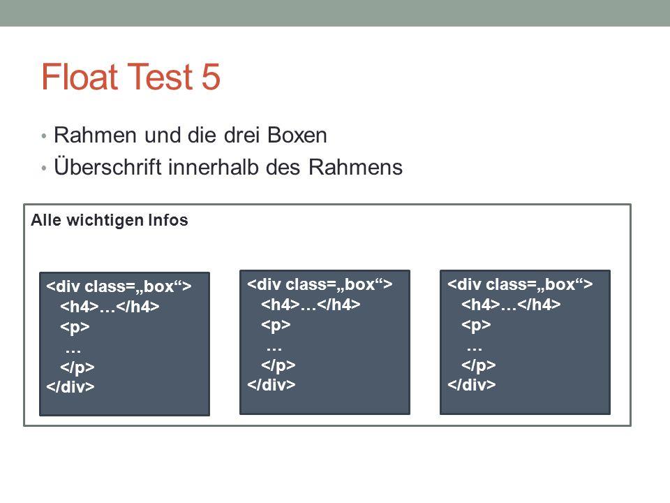 Float Test 5 Rahmen und die drei Boxen Überschrift innerhalb des Rahmens Alle wichtigen Infos … … … … … …