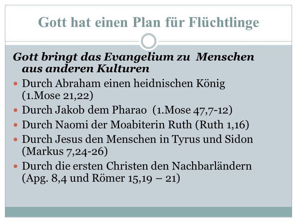 Gott hat einen Plan für Flüchtlinge Gott bringt Menschen aus einer anderen Kultur zum Evangelium Fremde in Israel (2.Chronik 6,32-33 / Apg.