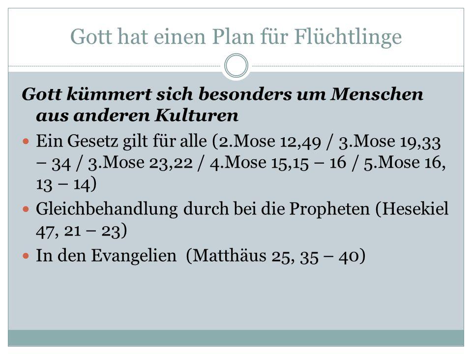 Gott hat einen Plan für Flüchtlinge Gott kümmert sich besonders um Menschen aus anderen Kulturen Ein Gesetz gilt für alle (2.Mose 12,49 / 3.Mose 19,33 – 34 / 3.Mose 23,22 / 4.Mose 15,15 – 16 / 5.Mose 16, 13 – 14) Gleichbehandlung durch bei die Propheten (Hesekiel 47, 21 – 23) In den Evangelien (Matthäus 25, 35 – 40)
